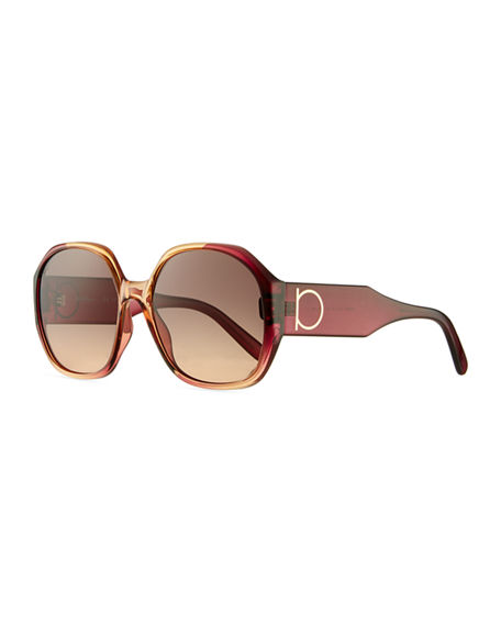 Salvatore Ferragamo Square Acetate Gancio Sunglasses