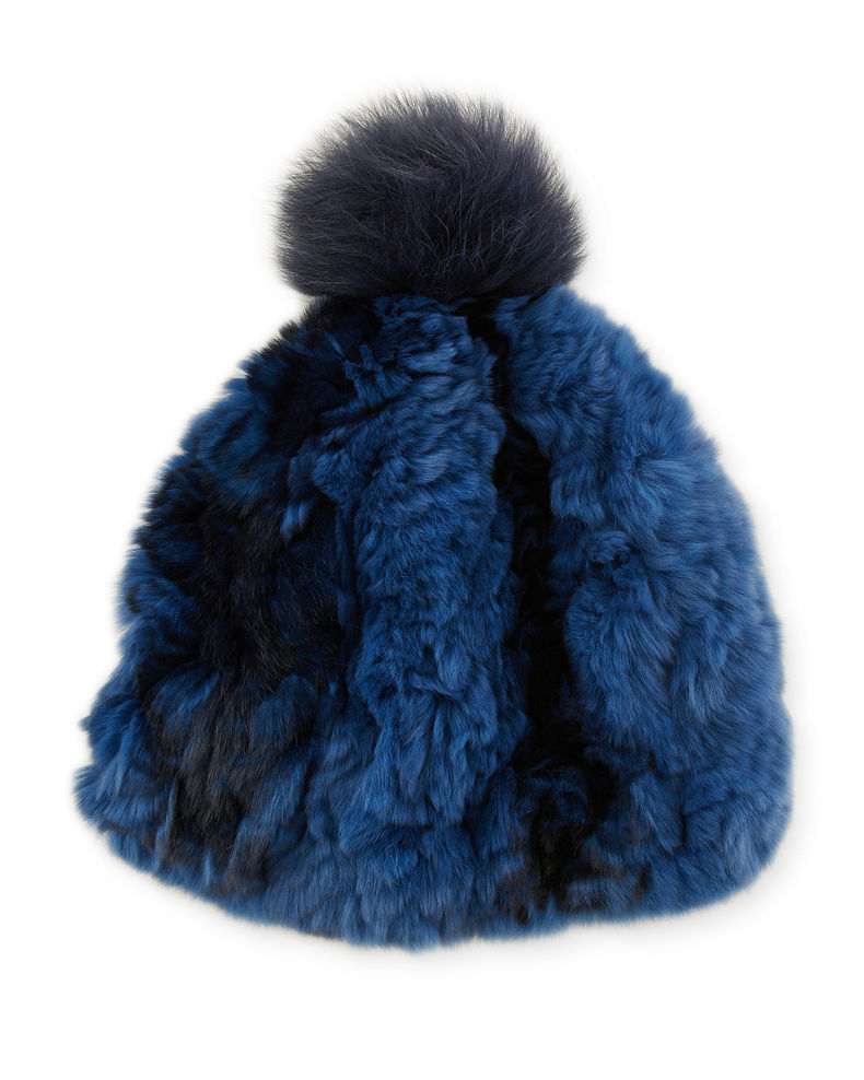Glamourpuss NYC Knitted Fur Pompom Hat