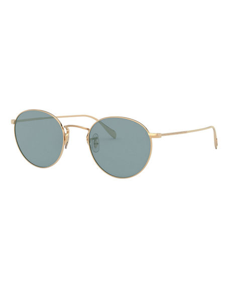 Oliver Peoples Coleridge Round Metal Aviator Sunglasses
