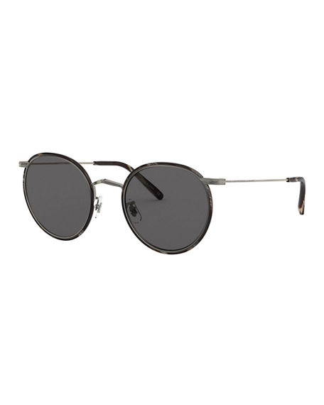 Oliver Peoples Casson Round Aviator Titanium Sunglasses