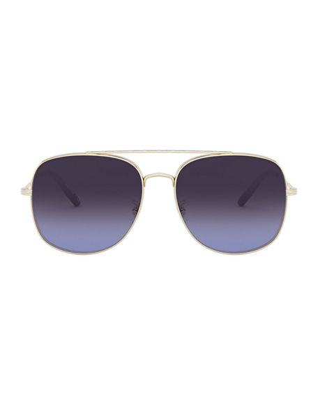 Image 2 of 2: Oliver Peoples Taron Square Aviator Metal Sunglasses
