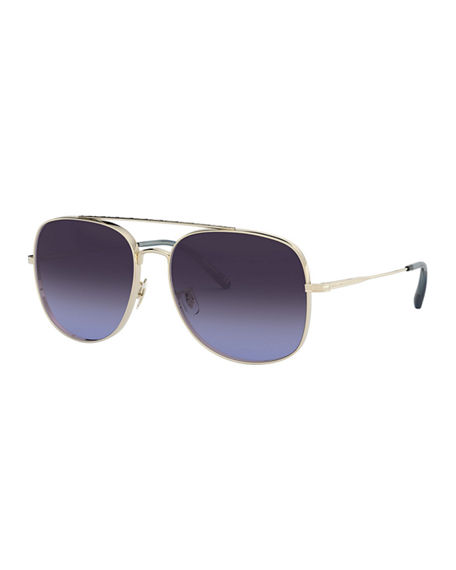 Image 1 of 2: Oliver Peoples Taron Square Aviator Metal Sunglasses