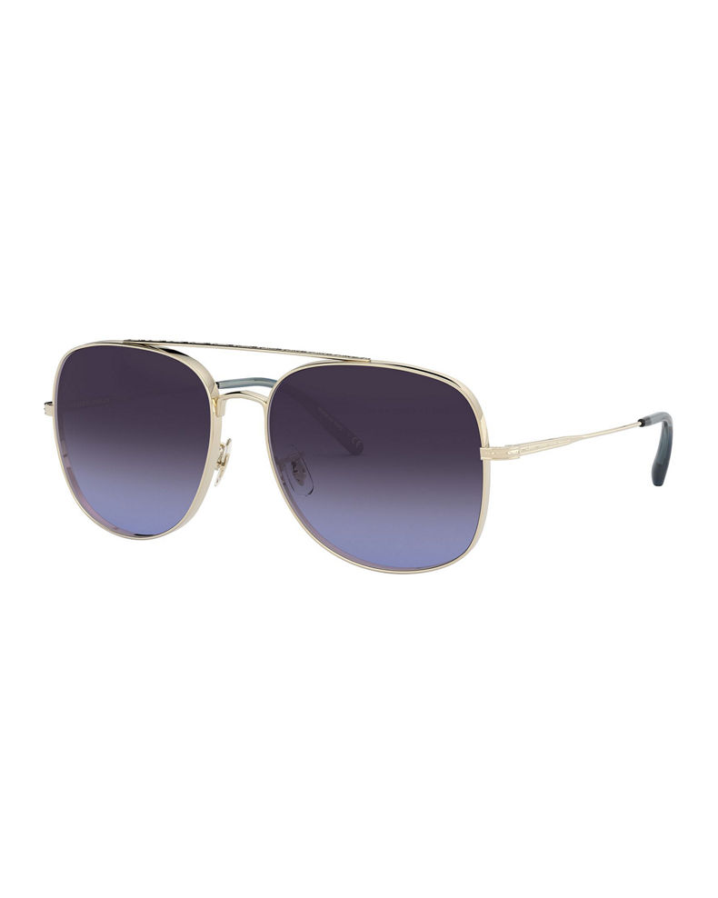 Oliver Peoples Taron Square Aviator Metal Sunglasses