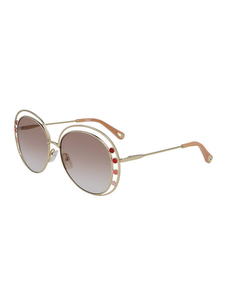 Image 1 of 2: Chloe Butterfly Halo Metal Sunglasses
