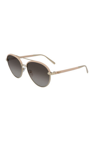 Salvatore Ferragamo Metal & Leather Aviator Sunglasses
