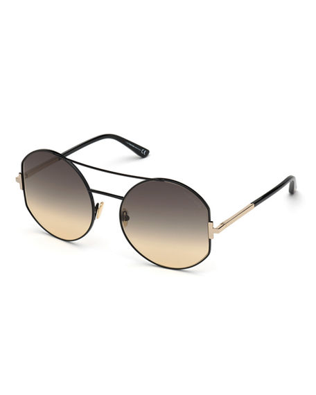 TOM FORD Dolly Round Gradient Metal Sunglasses