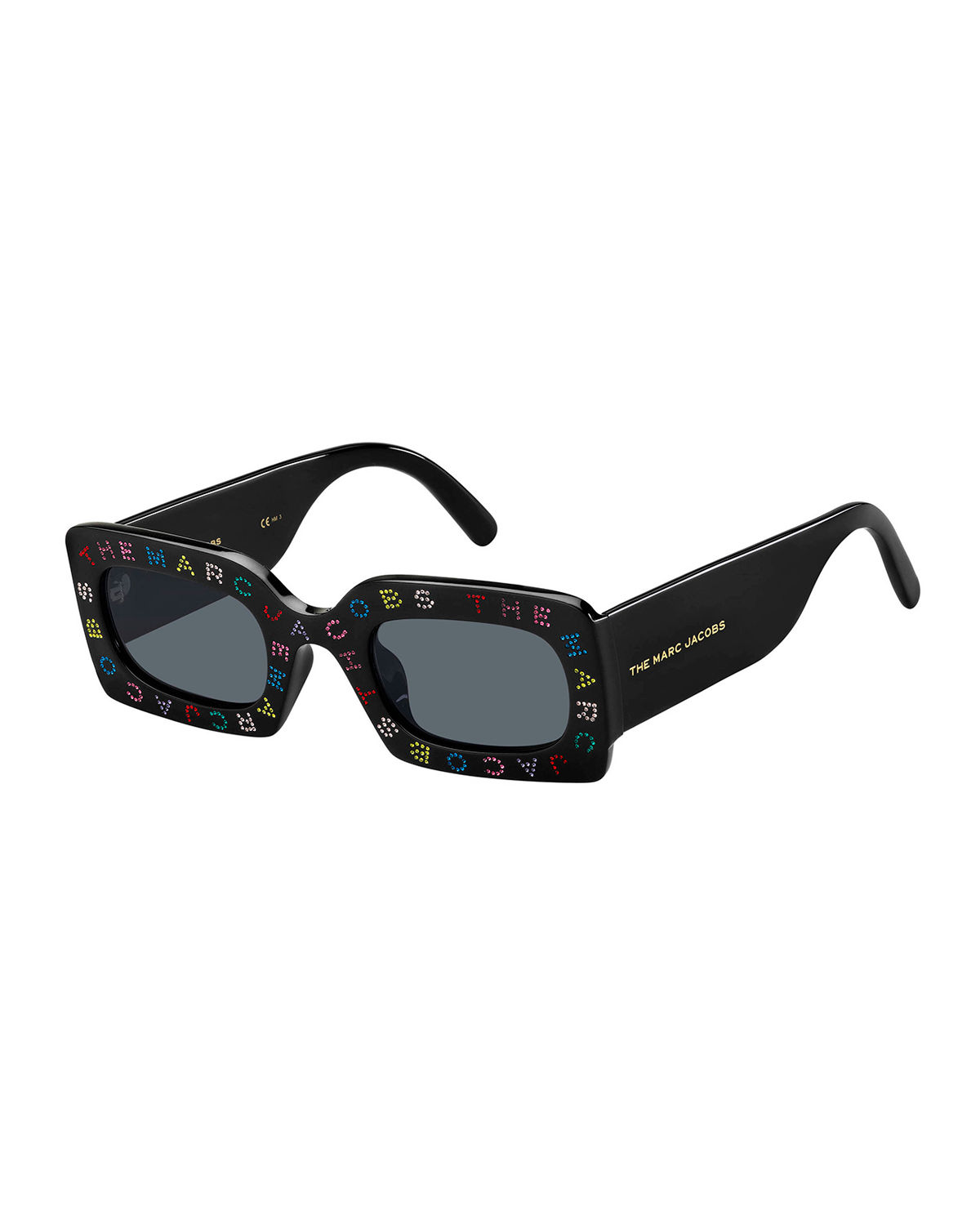 The Marc Jacobs MULTICOLOR CRYSTAL LOGO RECTANGLE SUNGLASSES