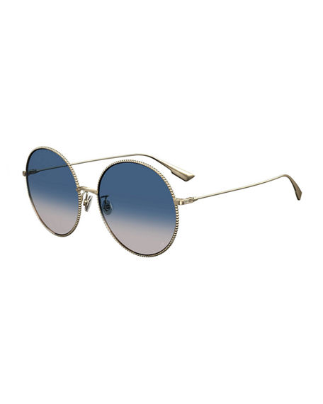 Dior DiorSociety2 Round Beaded Metal Sunglasses
