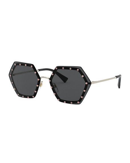 Valentino Crystal Lined Rimless Hexagon Sunglasses