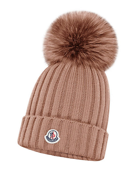 Moncler Ribbed Wool Beanie with Fur Pompom