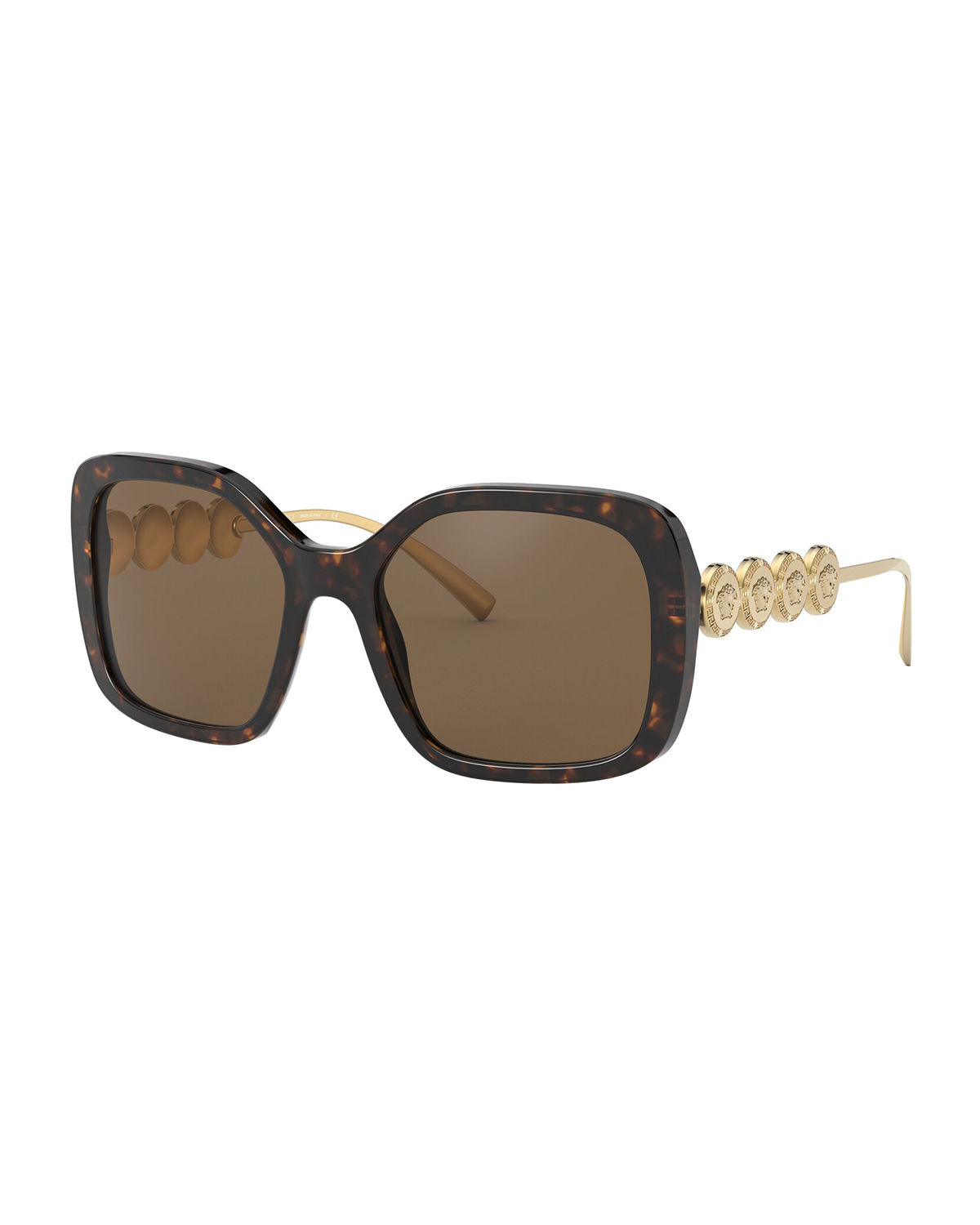 Versace Sunglasses SQUARE ACETATE SUNGLASSES W/ MEDUSA ARMS