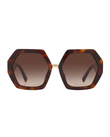 Image 2 of 2: Valentino Octagonal Acetate V-Inset Sunglasses