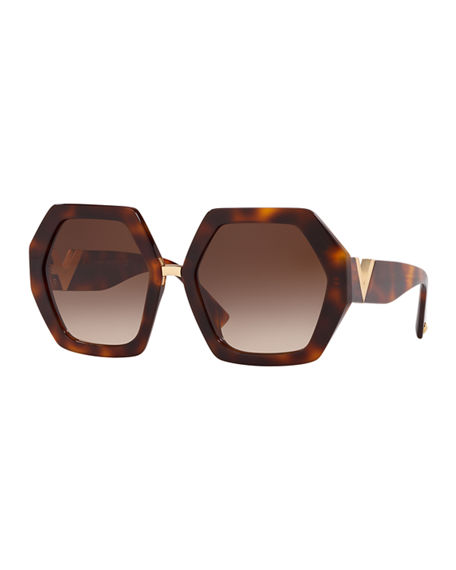 Image 1 of 2: Valentino Octagonal Acetate V-Inset Sunglasses