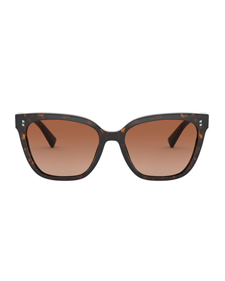 Image 2 of 3: Valentino Square Acetate Sunglasses w/ Mini Rockstud Trim