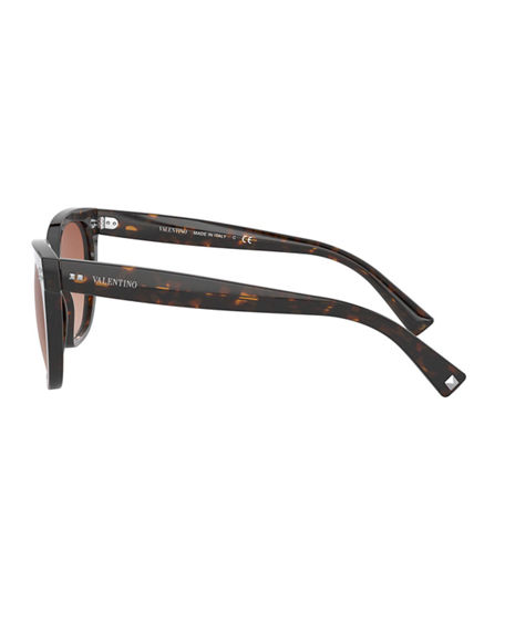 Image 3 of 3: Valentino Square Acetate Sunglasses w/ Mini Rockstud Trim