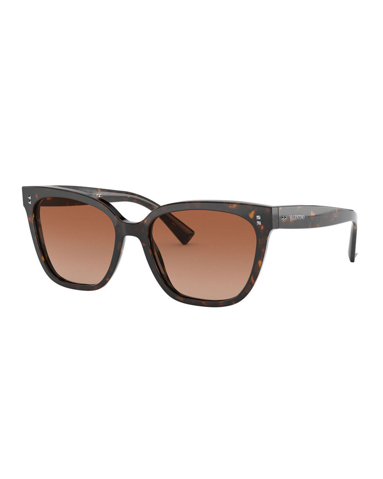 Valentino Square Acetate Sunglasses w/ Mini Rockstud Trim