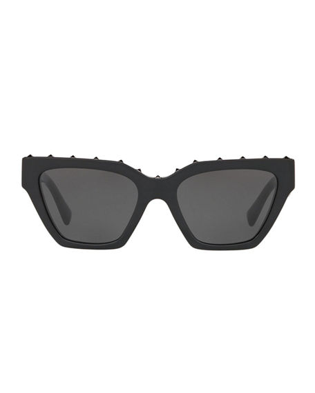 Image 2 of 3: Valentino Rockstud Acetate Rectangle Sunglasses