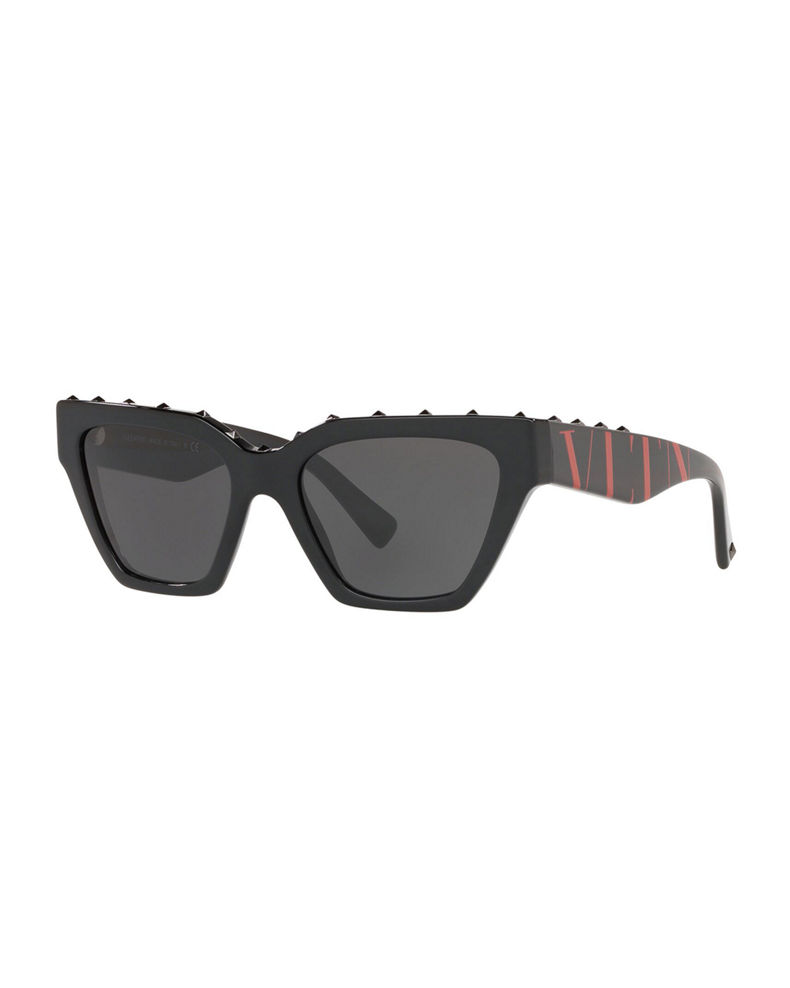 Valentino Rockstud Acetate Rectangle Sunglasses