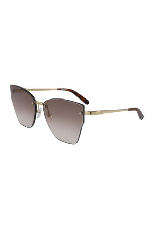 Salvatore Ferragamo Vara Rimless Cat-Eye Sunglasses