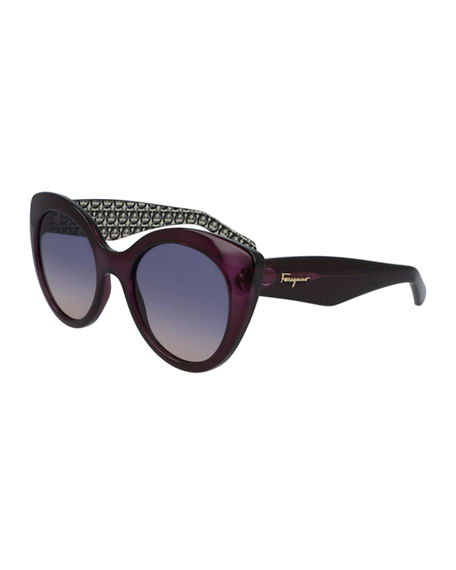 Salvatore Ferragamo Plastic Cat-Eye Sunglasses