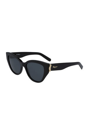 Salvatore Ferragamo Vara Cat-Eye Acetate Sunglasses