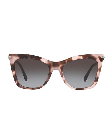 Image 2 of 3: Valentino Cat-Eye Acetate Rockstud Sunglasses