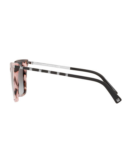 Image 3 of 3: Valentino Cat-Eye Acetate Rockstud Sunglasses