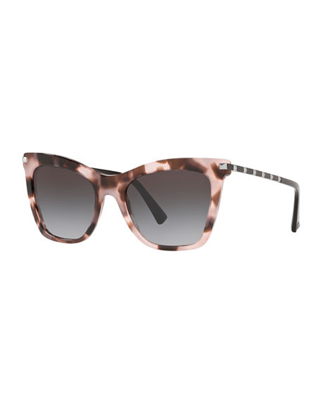 Image 1 of 3: Valentino Cat-Eye Acetate Rockstud Sunglasses