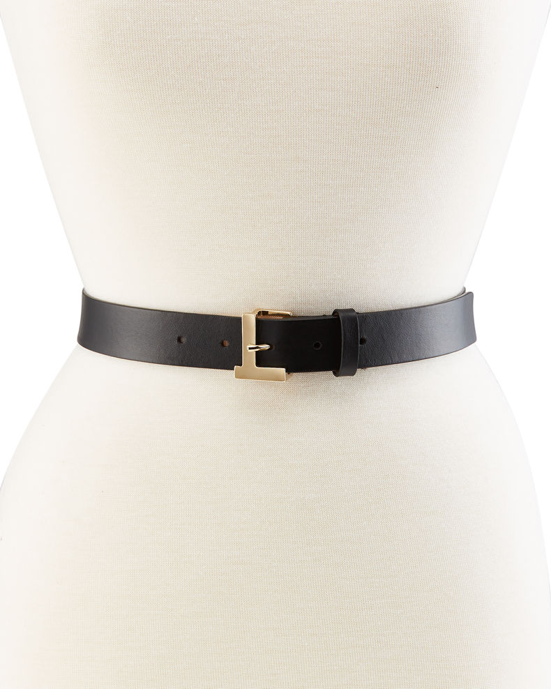 Lafayette 148 New York Gold L Beam Buckle Leather Belt
