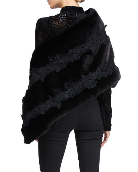 Image 2 of 4: Pajaro Mink Fur Stole With Lace