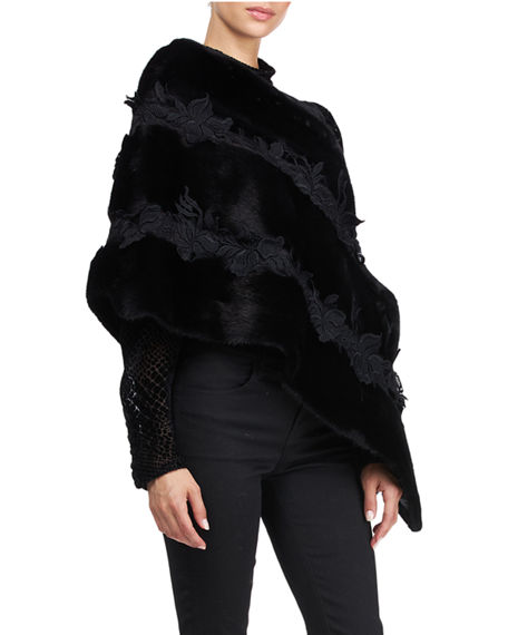 Image 4 of 4: Pajaro Mink Fur Stole With Lace
