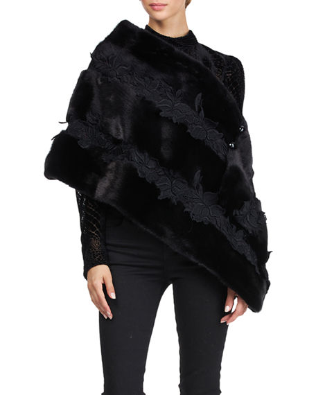 Image 1 of 4: Pajaro Mink Fur Stole With Lace