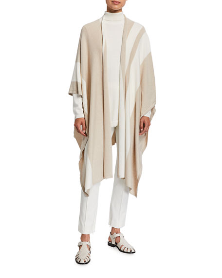 Image 1 of 2: Joan Vass Plus Size Poncho Wrap Sweater