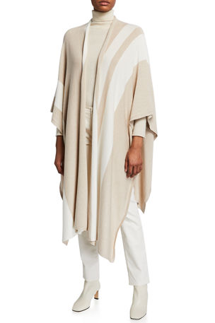 Joan Vass Poncho Wrap Sweater