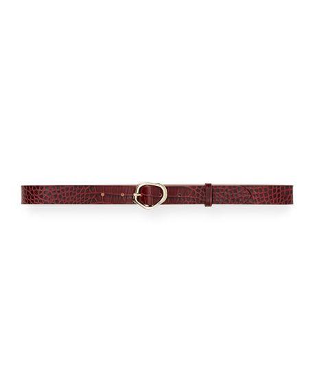 Lafayette 148 New York Irregular Buckle Croc-Embossed Leather Belt