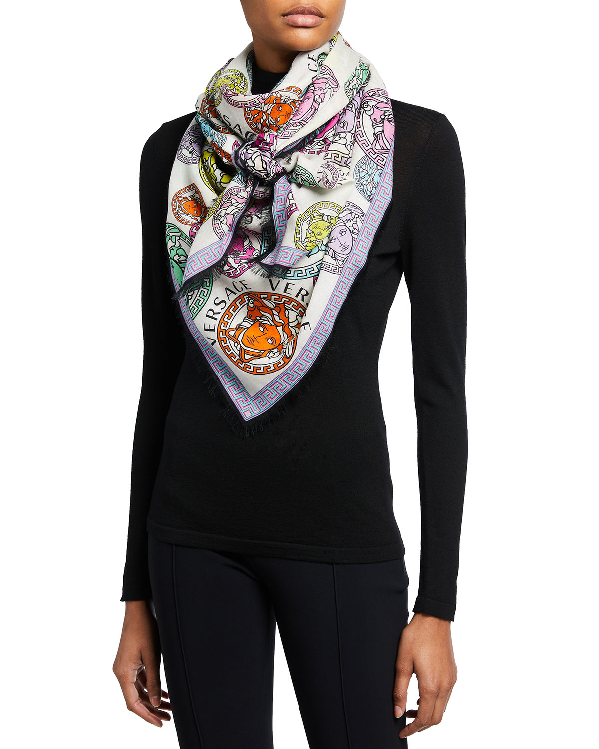 Versace MEDUSA AMPLIFIED WOOL-SILK SCARF