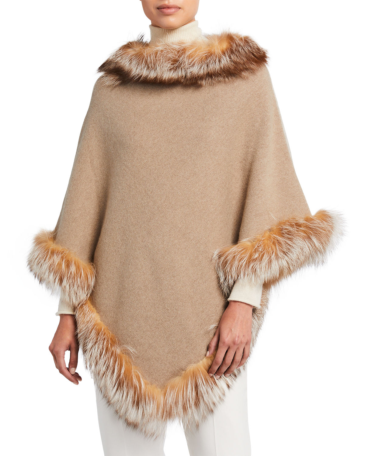 Belle Fare WOOL PONCHO WITH FUR TRIM
