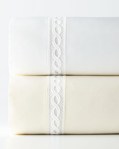 King 1,020 Thread Count Lace Sateen Flat Sheet
