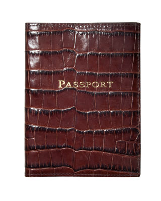 Crocodile-Embossed Leather Passport Cover, Personalized, Brown