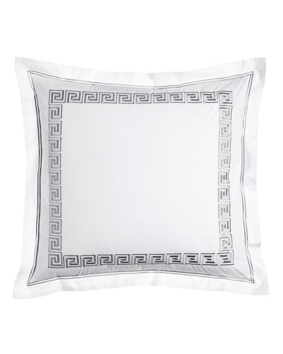 White Greek Key European Sham with Embroidery
