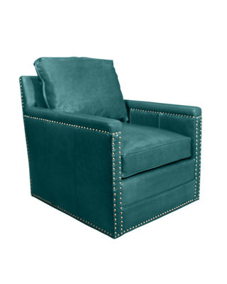Avis St. Clair Peacock Blue Leather Swivel Chair