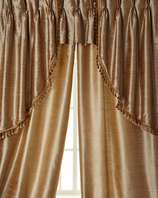"""Two 52""""W x 96""""L Josephine Curtains with Tassel Fringe at Bottom"""