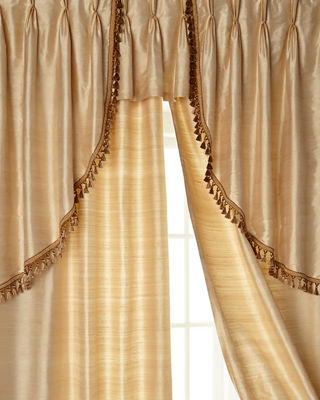 "Two 52""W x 96""L Josephine Curtains with Tassel Fringe at Bottom"