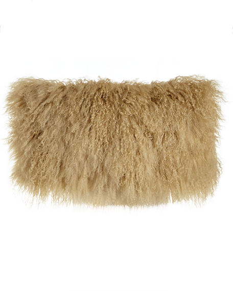 "Image 1 of 2: Donna Karan Home Flokati Wool Pillow, 11"" x 22"""