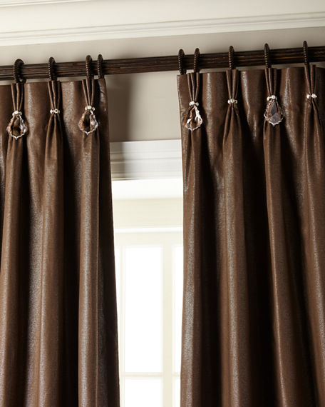 "Image 1 of 5: Misti Thomas Modern Luxuries 108""L Shimmer Curtain with Asfour Crystals"
