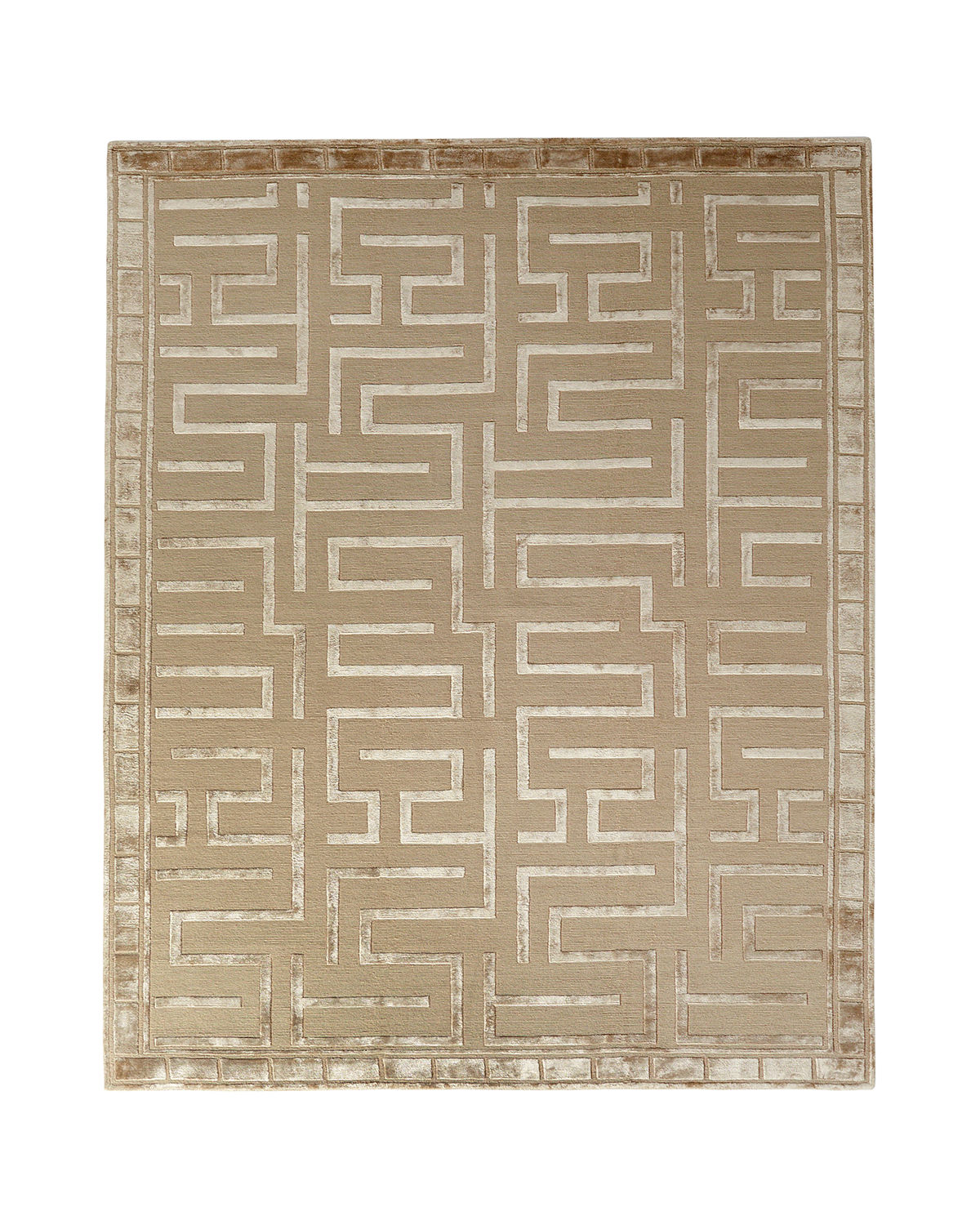 Exquisite Rugs Rowling Maze Hand-Knotted Rug, 10' x 14'