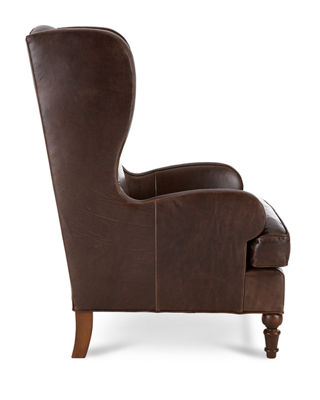 Image 3 of 4: Walker Leather Wing Chair