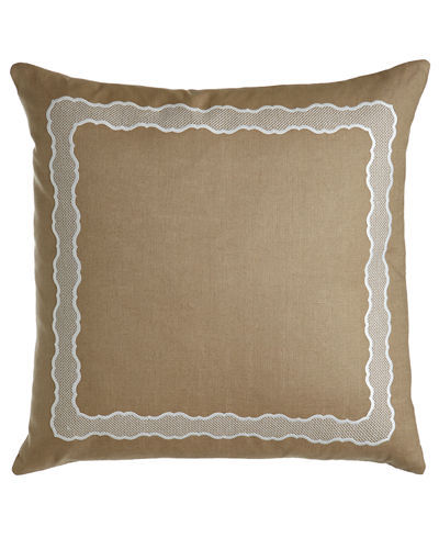 "Embroidered Linen Pillow, 17"" x 30"""
