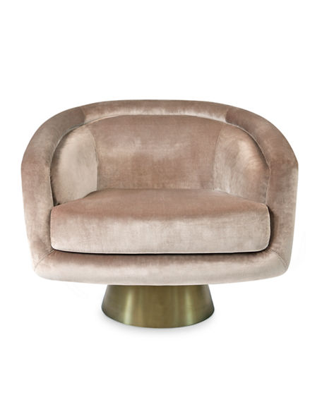 Image 1 of 5: Jonathan Adler Bacharach Velvet Swivel Chair
