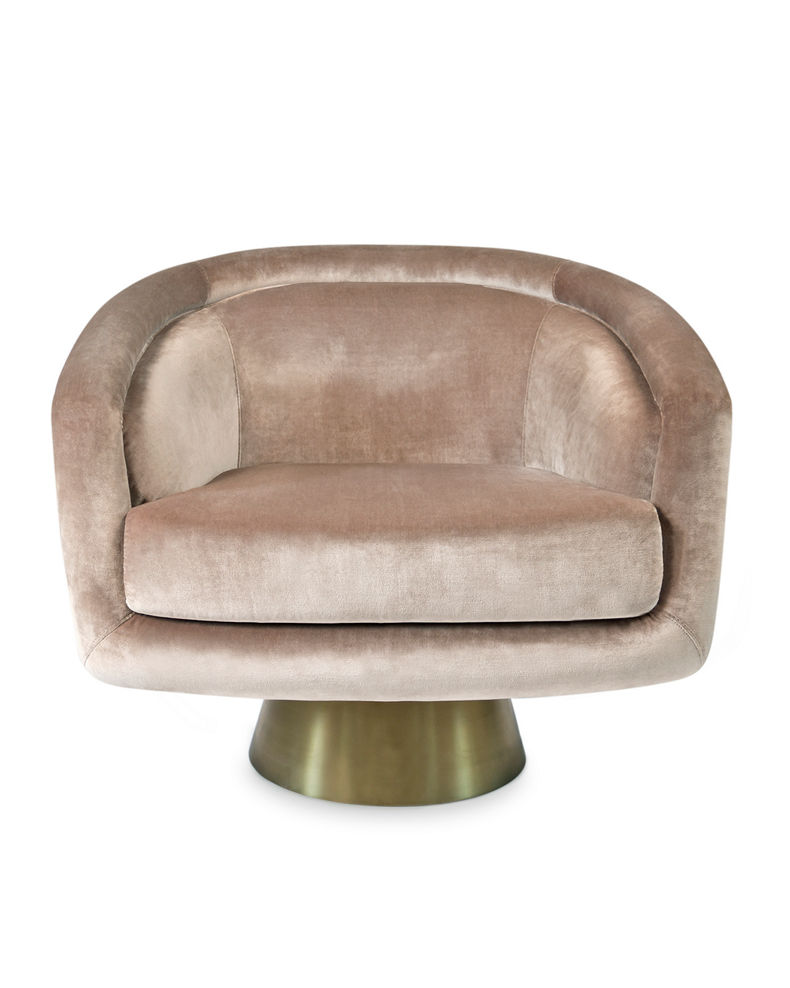 Jonathan Adler Bacharach Velvet Swivel Chair